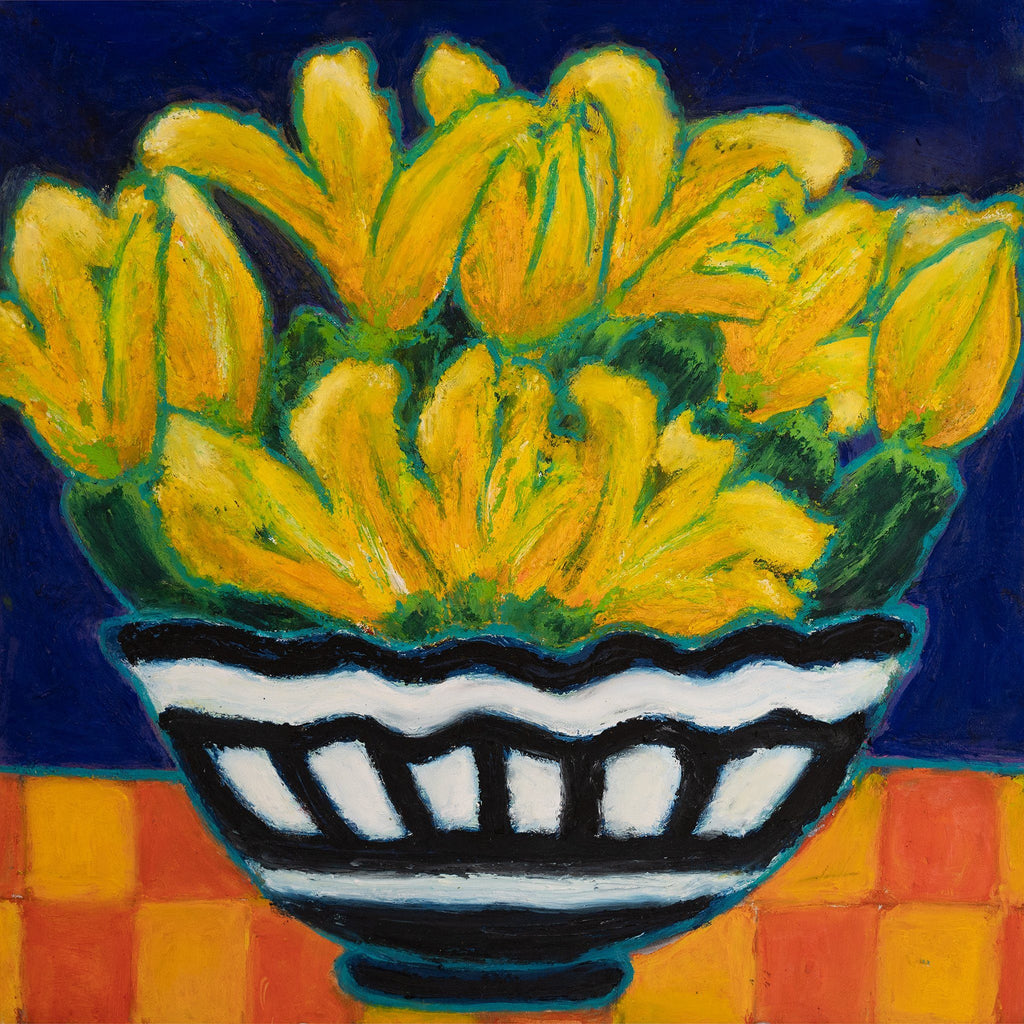 "ART IN THE TIME OF CORONA: ZUCCHINI E FIORI IN UNA CIOTOLA (12""x12"") - Norlynne Coar Fine Art"