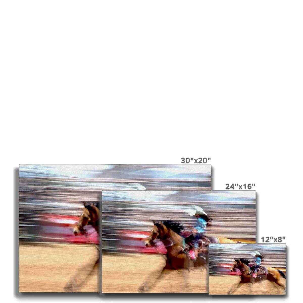 Rodeo Gal: On the Run in a White Hat, Fine Art Print on Canvas - Norlynne Coar Fine Art