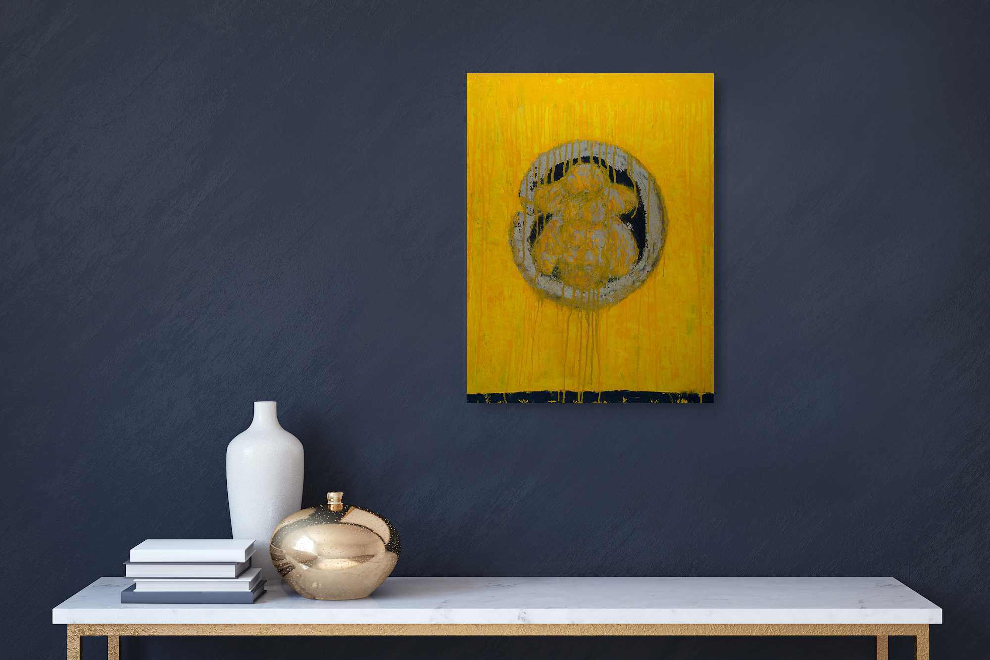 Circle of Honey, oil on cradled wooden panel, 24x18x1.5, bee, enso, yellow, black, drips