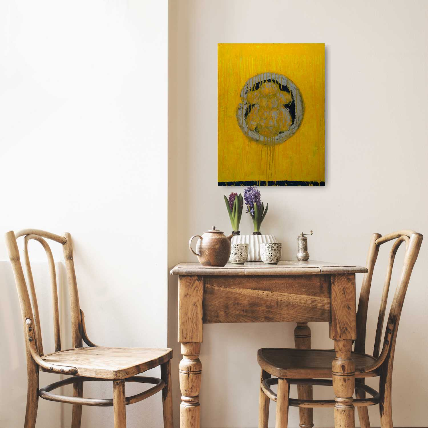 "Circle of Honey, Oil on Wooden Panel (24""x18""x1.5"") - Norlynne Coar Fine Art"