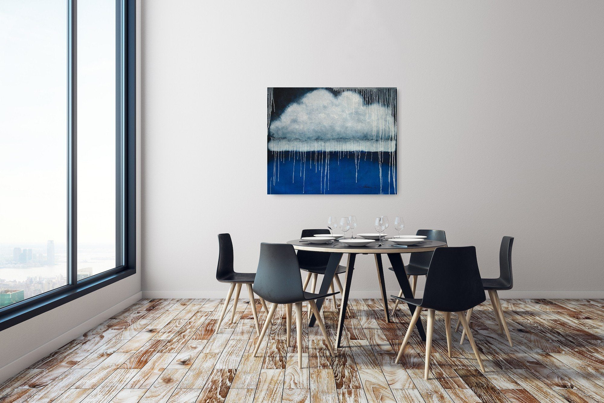 "Cloud, Sea, Rain, Oil Painting on Canvas (30""x36"") - Norlynne Coar Fine Art"
