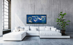 "Cranes of Peace, Oil on Wooden Panels (24""x54""x1.5"") - Norlynne Coar Fine Art"