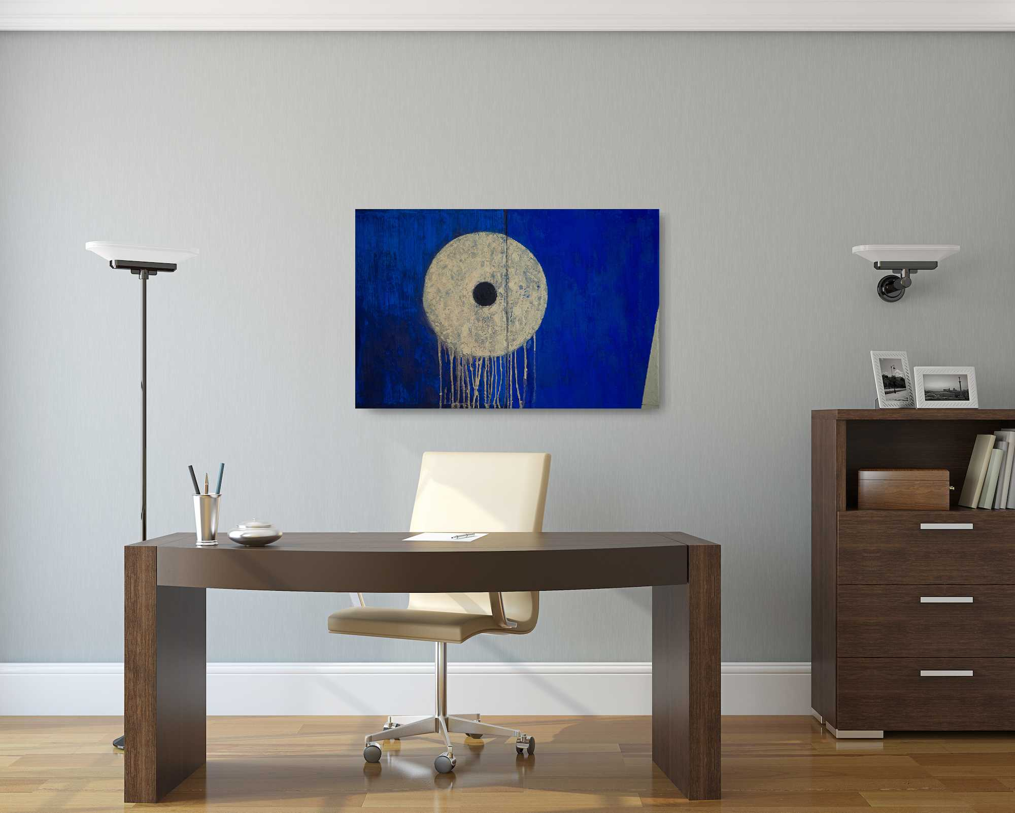 "Portal, oil on cardled, wooden panel, 24""x36""x1.5"". Blue, gold, texture. Portal in the sky."