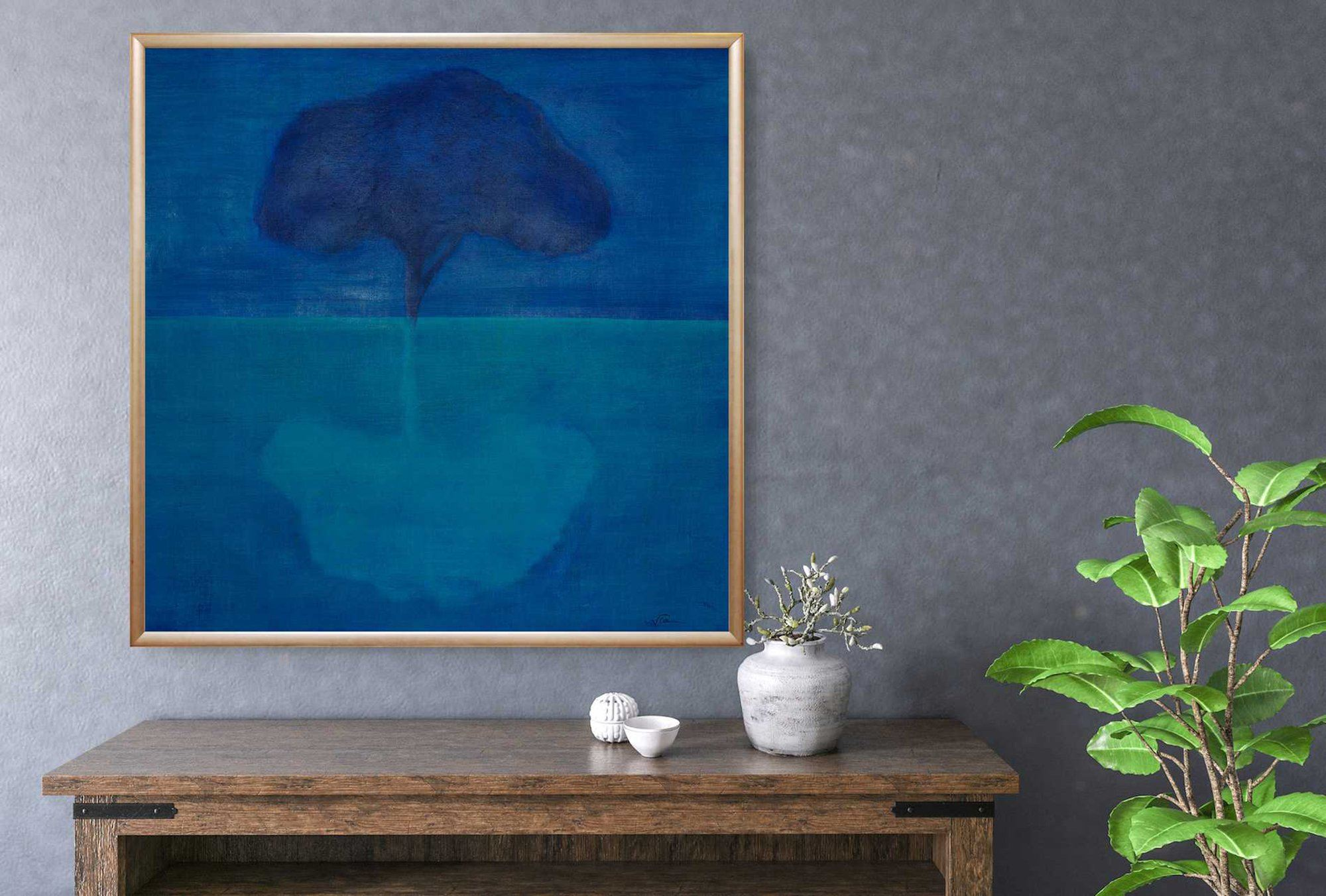 Life of a Tree: Reflection,oil on canvas, 37x37, blue, aqua, tree, reflection, water, sky, abstract, oil on canvas