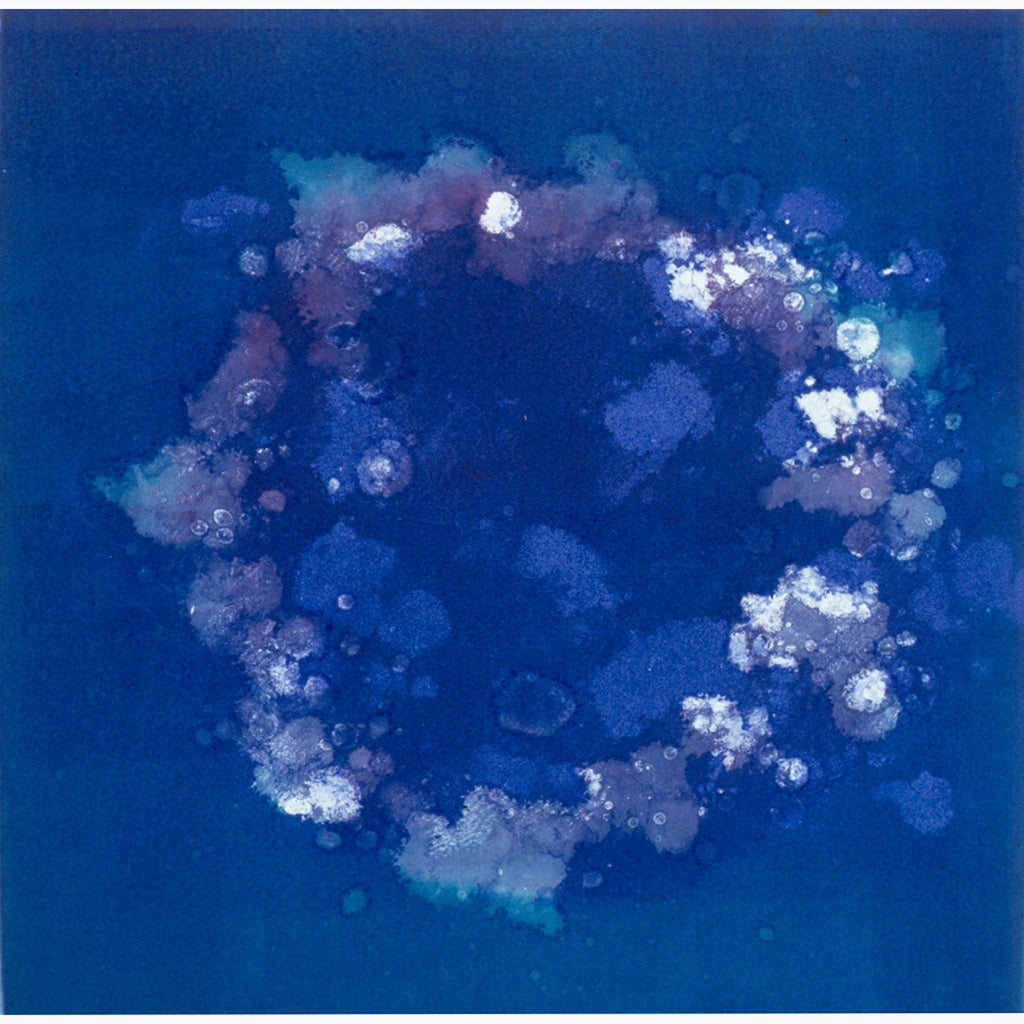 spirits in the sea, monotype, abstract, blue, aqua, white