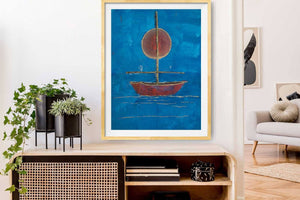 "Red Sun, Red Boat, Blue Water (24x18"") - Norlynne Coar Fine Art"