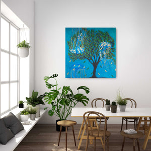 "Life of a Tree: Underwater, Original Oil Painting on Canvas (36""x36"") - Norlynne Coar Fine Art"