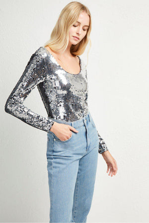 Bodysuits Zena Sequin Jersey Bodysuit French Connection Conspiracy New York