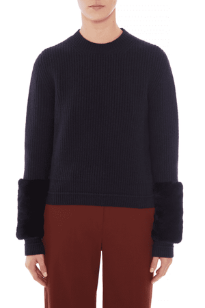 Jumpers Juliette Faux Fur Cuff Jumper Markus Lupfer Conspiracy New York