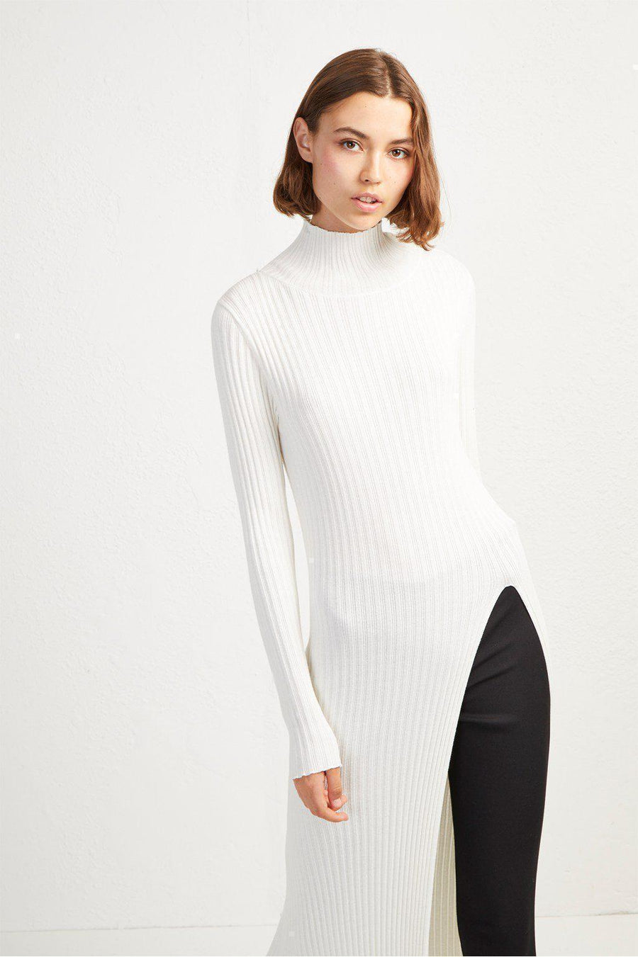 Jumpers Raven Rib Knit Long Slip Jumper French Connection Conspiracy New York