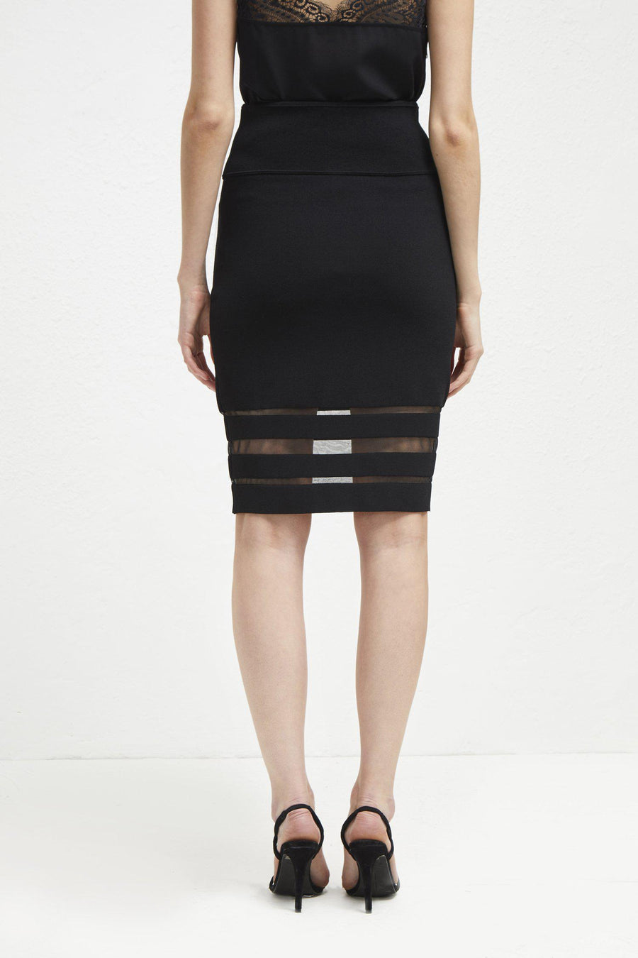 Skirts Kara Crepe Mesh Insert Pencil Skirt French Connection Conspiracy New York
