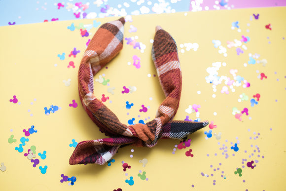 Pumpkin Plaid Tie Knot Headband