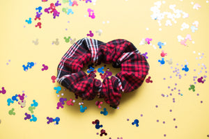 Red and Black Plaid Scrunchie