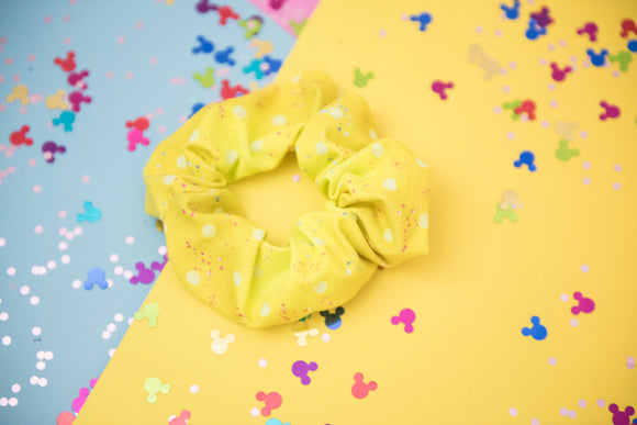 Glitter Yellow Polka Dot Scrunchie