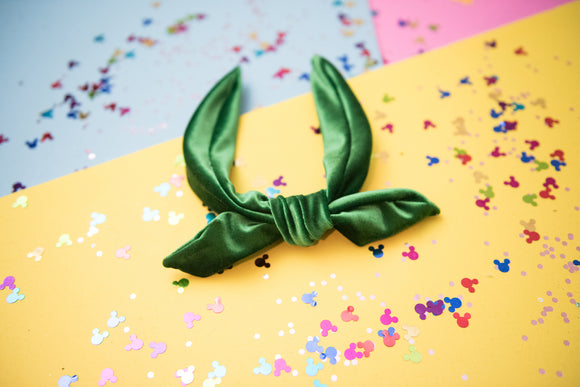 Kelly Green Velvet Tie Knot Headband