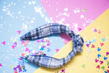 Blue Sweater Paid Tie Knot Headband
