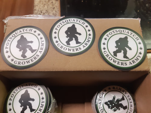 Pack of 5 Potsquatch Stickers NEWER BIGGER STICKERS! - Potsquatch Growers