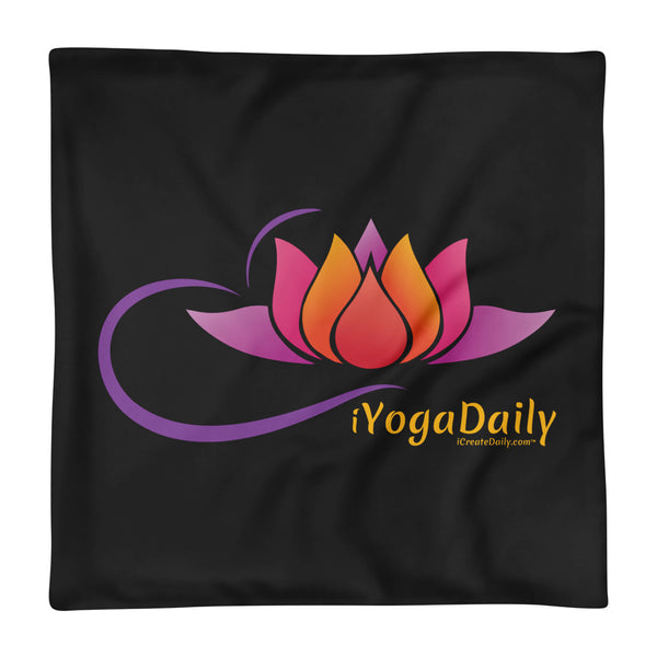 iYoga Daily Flower Black 18x18 Basic Pillow Case only