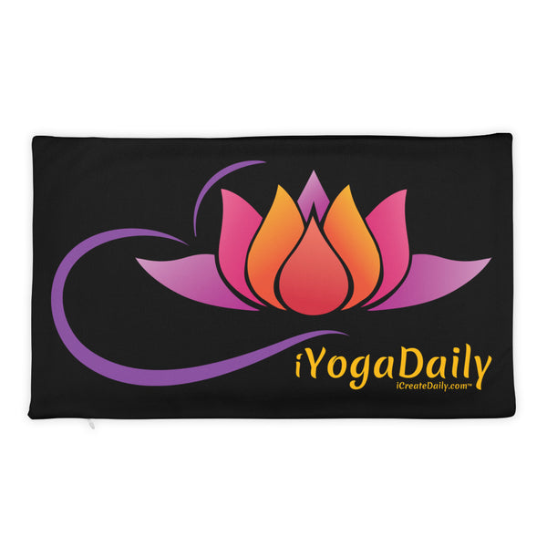 iYoga Daily Flower Black 20x12 Basic Pillow Case only