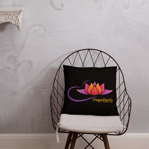 iYoga Daily Flower Black 18x18 Basic Pillow