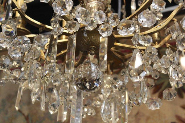 18th Century 9-Light French Gilt Bronze and Crystal Chandelier Lighting Jacques Antiques