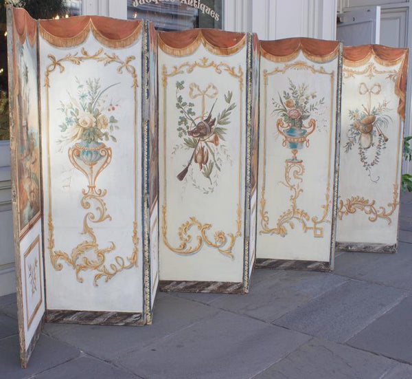 18th Century, French Double-Sided Eight-Panel Painted Screen Decor Pieces Jacques Antiques