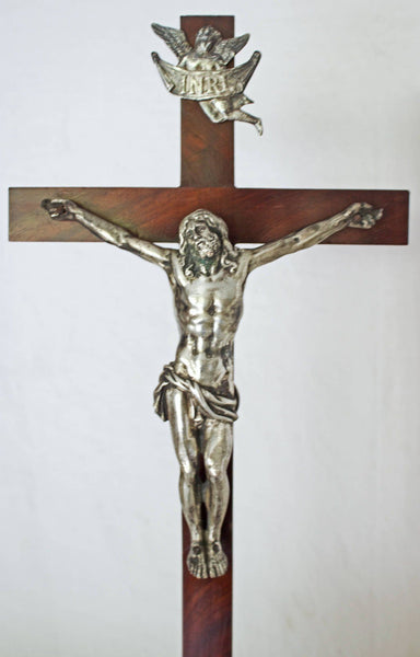 18th Century French Silver and Gilt Bronze Christ on a Wooden Cross Decor Pieces Jacques Antiques