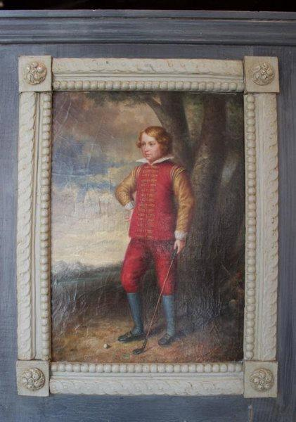 19th Century English Painted Trumeau Representing a Young Golfer -on hold- Mirrors Jacques Antiques