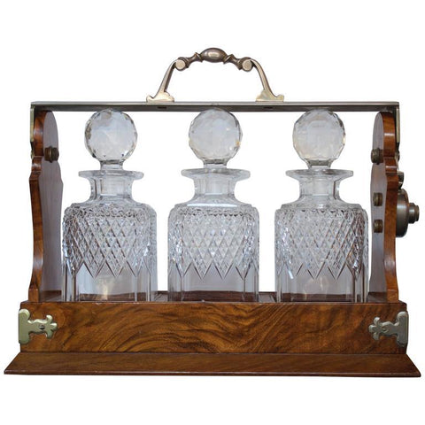 19th Century English Tantalus Decanters Stamped by Makers Serveware, Ceramics, Silver and Glass Jacques Antiques