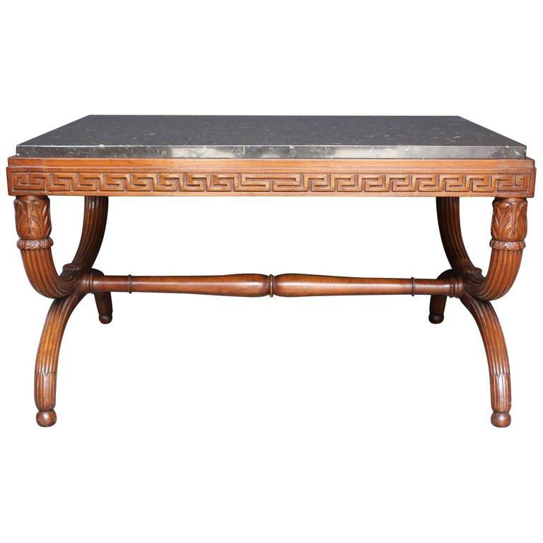19th Century French Empire Style Carved Mahogany and Marble Top Low Table Tables Jacques Antiques