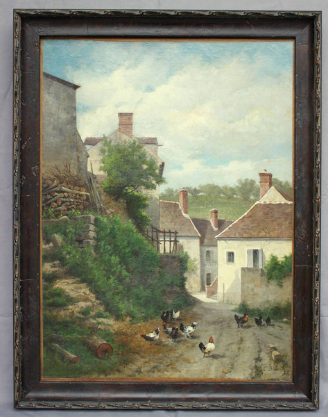"19th Century French School Painting ""Vue De Village"" Paintings Jacques Antiques"