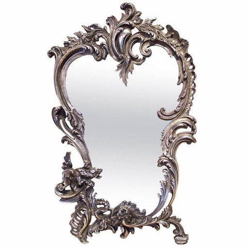 19th Century French Silver Plated Bronze Table Mirror Mirrors Jacques Antiques