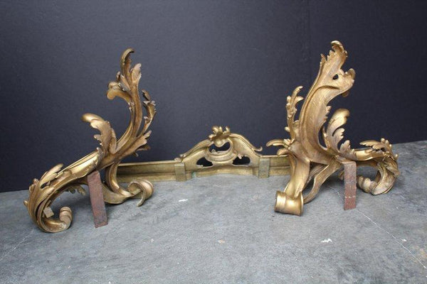 Adjustable Set of French Louis XV Chenets and Fender Decor Pieces Jacques Antiques