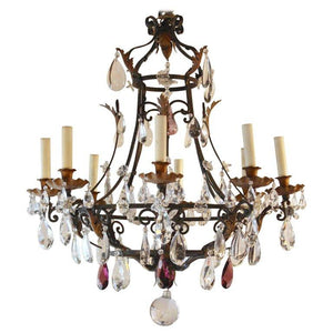 Antique French Eight-Light Wrought Iron and Crystal Chandelier Lighting Jacques Antiques