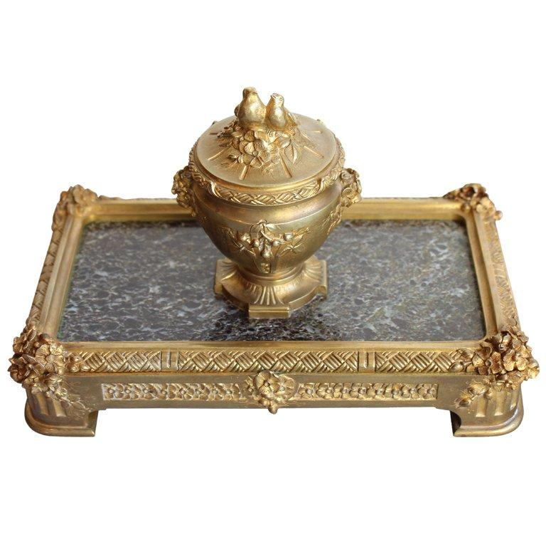 "Bronze Inkwell by ""Barbedienne"" Paris Decor Pieces Jacques Antiques"