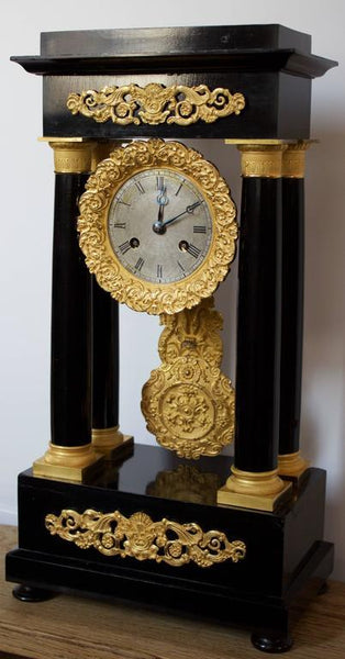 Early 19th Century Ormolu and Ebonized Wood Empire Portico Clock Clocks Jacques Antiques