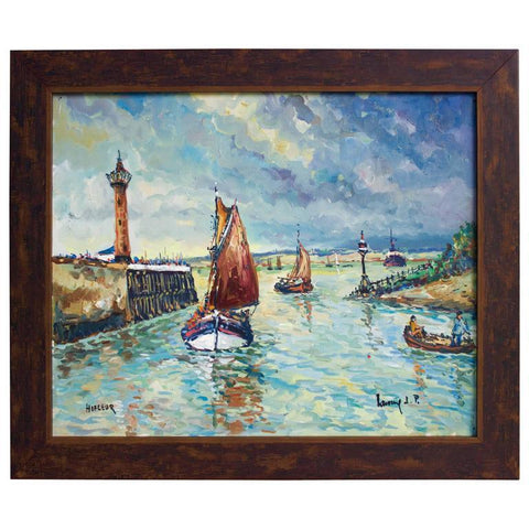 """Entree Du Port De Honfleur"" Oil on Canvas by Lavoine Paintings Jacques Antiques"