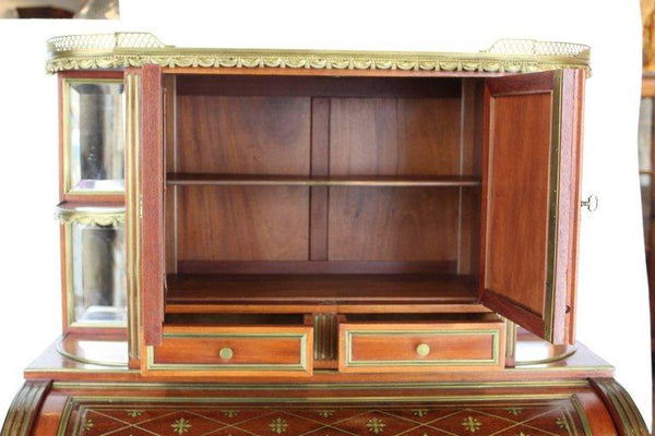 "French 19th Century Mahogany Veneer and Brass inlaid ""Bureau a Cylindre"" Tables Jacques Antiques"