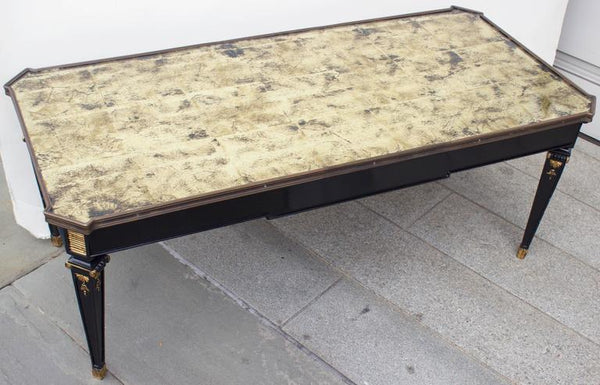 French Antique Coffee Table with Gilt Eglomise Glass -ON HOLD- Tables Jacques Antiques