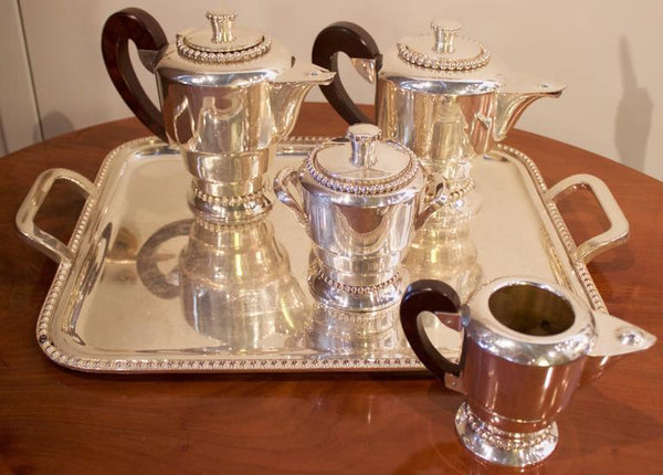 French Art Deco Silvered Five Pieces Tea and Coffee Set Serveware, Ceramics, Silver and Glass Jacques Antiques