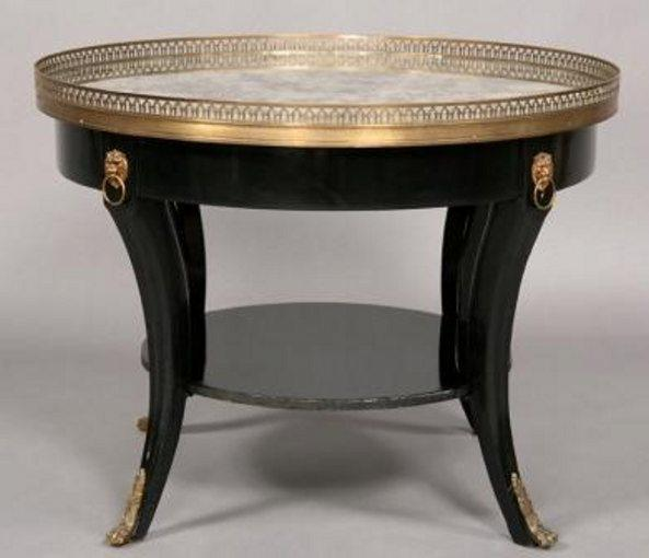 French Ebonized Round Coffee Table Silvered Mirror Top Tables Jacques Antiques