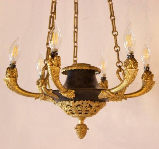 French Empire Chandelier with Six lights Lighting Jacques Antiques