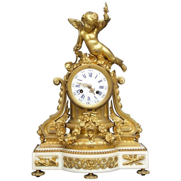 French Louis XVI Figural Clock in Chased and Gilt Bronze Clocks jacques Antiques