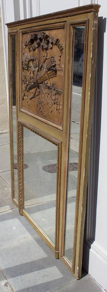 "French Louis XVI Period Mantel Trumeau Mirror ""A Parecloses"" Mirrors Jacques Antiques"