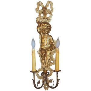 French Louis XVI Style Giltwood Two-Light Sconce Lighting Jacques Antiques
