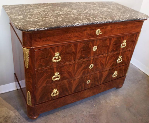 French Louis XVII Period Chest in Flame Mahogany and Marble-Top Case Pieces and Storage jacques Antiques