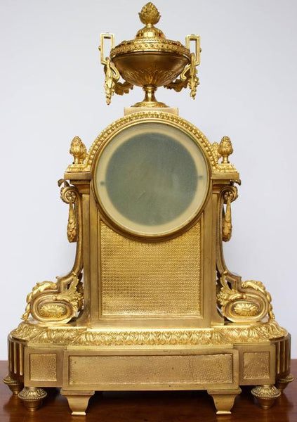 French Napoleon III Period Mantel Clock in Dore Bronze Clocks jacques Antiques
