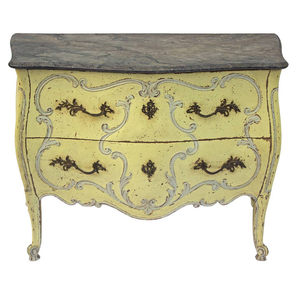French Painted Louis XV Style Bombe Commode Case Pieces and Storage jacques Antiques
