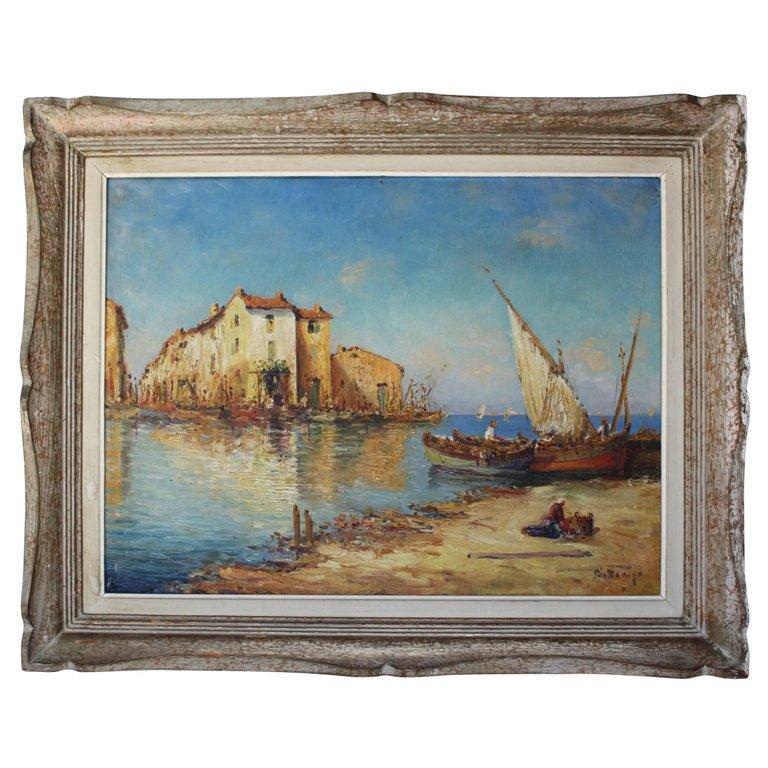 French Painting of a Mediterranean Port by D.Manago Paintings jacques Antiques