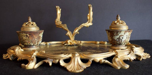 Inkstand in Bronze Doré and Chinoiserie Lacquered Tray Decor Pieces Jacques Antiques